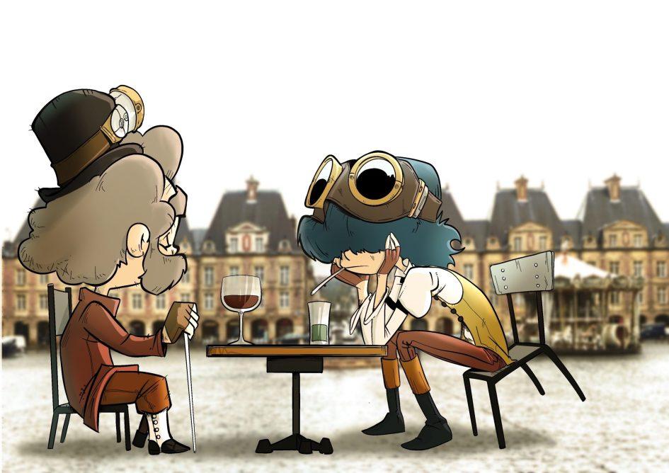 Le professeur et Sidonie sur la place Ducale