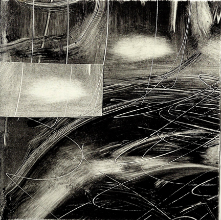"Jolene Costello Hartig ""The Shining Ones"" monotype 5x5 inches"