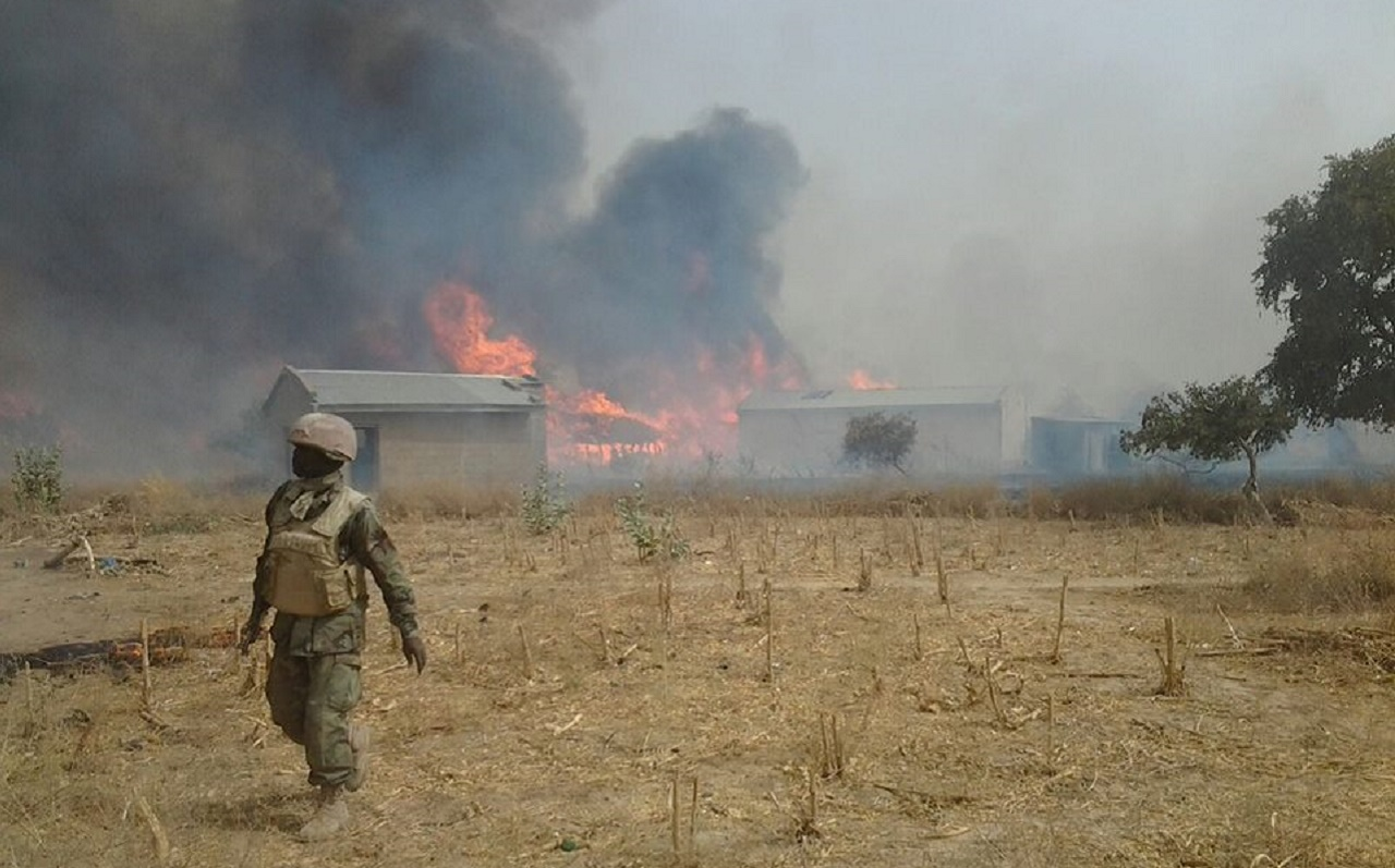 Boko Haram camp being destroyed by the Nigerian Military