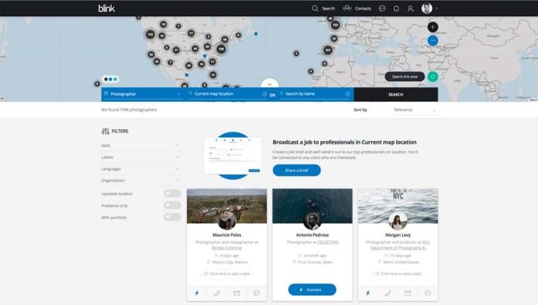 Im oberen Bereich zeigt Blink eine Weltkarte mit Positionen von Fotografen, im unteren Bereich können Bildredaktionen aus Profilen und Portfolios auswählen. Das System funktioniert global.