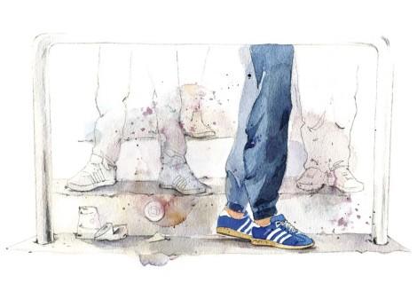 Casual Couture hat sich in der Fußball-Fankultur verbreitet. Illustratorin Jenny Adam hat den Mode-Stil für das HSV-Mitgliedermagazin sn gezeichnet: Eine Stadiontribüne, die nur Beine zeigt, um den Fokus auf Hose und Schuhe zu legen. Pastelltöne erzeugen eine 80er-Jahre-Stimmung.