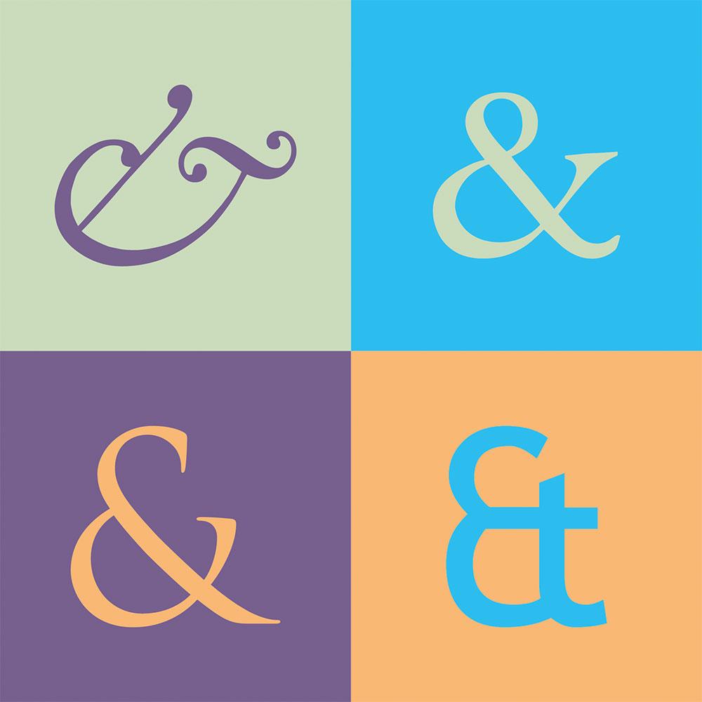 Vier Et-Zeichen in ihrer zeitlichen Entwicklung. In der ersten Version sind das e und T sogar noch zu erahnen, neuere Varianten greifen es wieder auf.