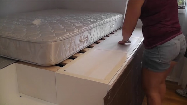 Man Transforms IKEA Kitchen Cabinets Into Bed With Space