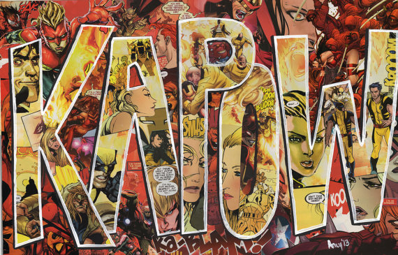 collages give comic book sound effects an added graphic punch