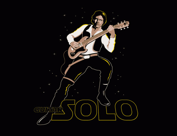 Hans Guitar Solo T Shirt Combines Star Wars And Rock
