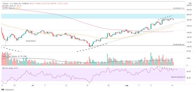 LTC/USD 9-hour chart