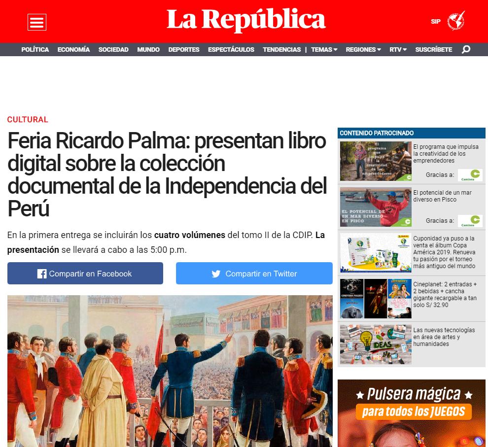 Feria Ricardo Palma: presentan libro digital sobre la colección documental de la Independencia del Perú