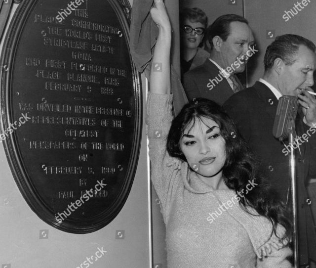 French Stripper Cha Landres At Unveiling Of Plaque To Commemorate The Frist Striptease At The Raymond