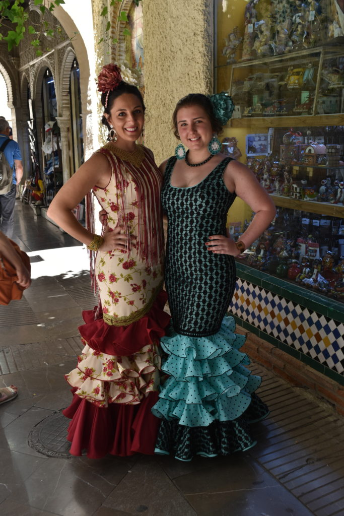 young spanish women wearing traditional dress