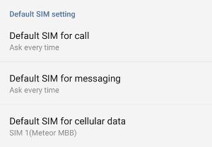 OnePlus 2 default SIM setting