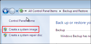 Create system image step 4