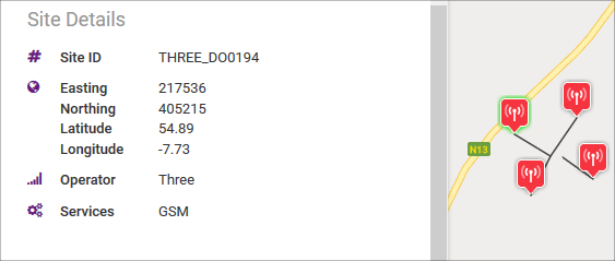 ComReg site with Site ID 3_DO0194 and service GSM.
