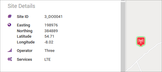ComReg site with Site ID 3_DO0041 and Service LTE