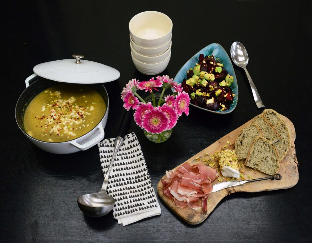 3 healthy pistachio recipes - vegan leek and broccoli soup, beet salad with ginger dressing, goat cheese rolled in pistachios