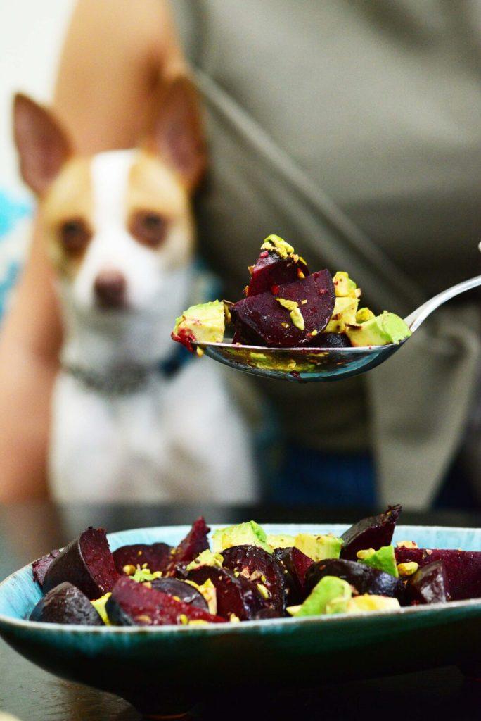 3 pistachio recipes - beet salad with ginger dressing, avocado and pistachios recipe