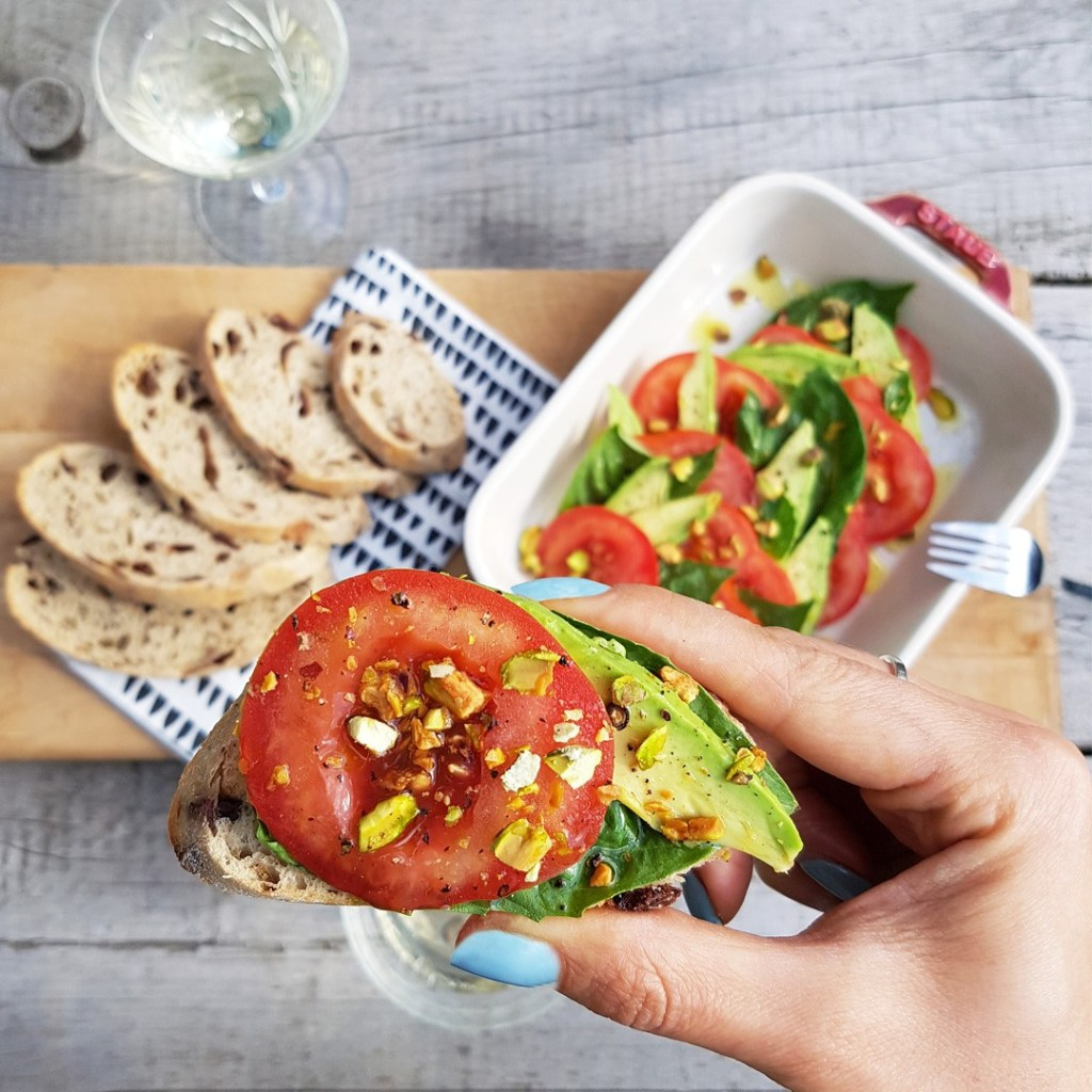 12 Amazing Avocado Recipes - Avocado Vegan Caprese Salad Recipe - Gracie Carroll