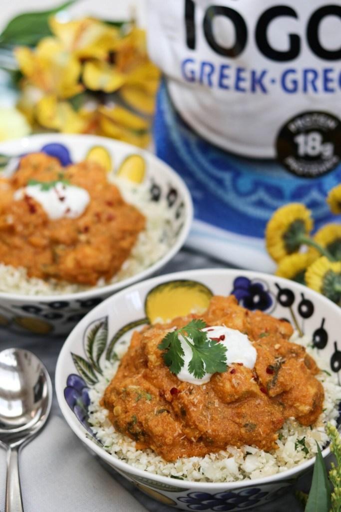 healthy butter chicken recipe and coconut cauliflower rice