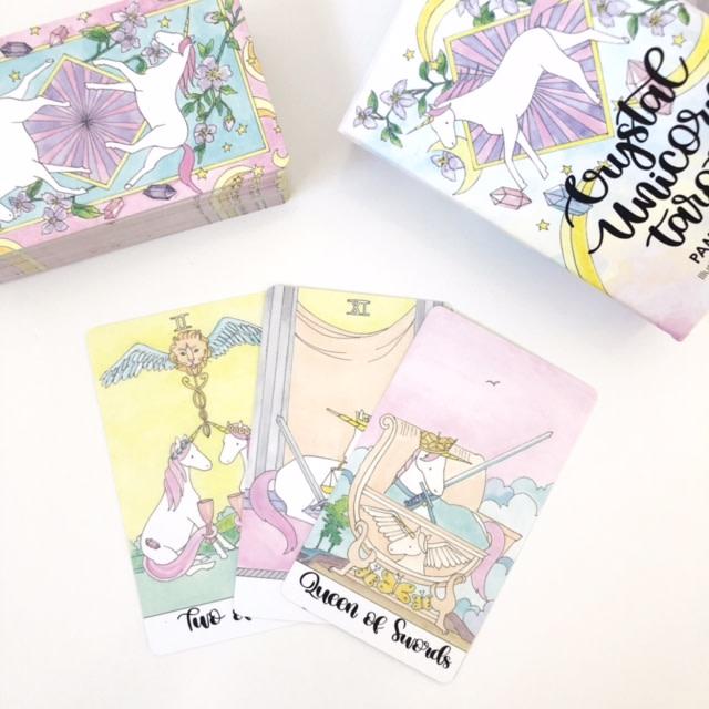 most beautiful tarot card decks - crystal unicorn tarot deck