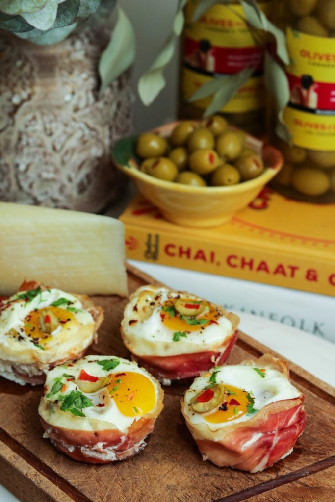 prosciutto wrapped egg cups recipe with olives from spain