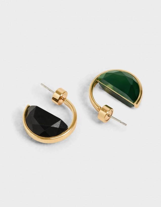 charles & keith green black marble hoops