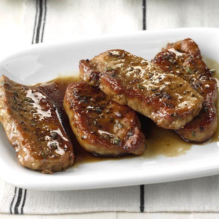 tender maple-glazed pork chops dish