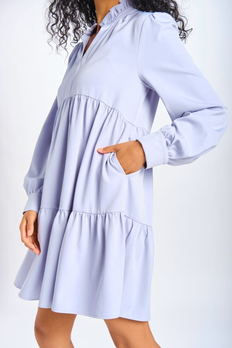 powder-blue empire waist babydoll dress inspired by Bridgerton costumes
