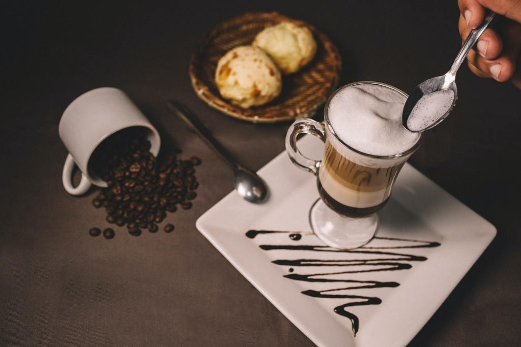 coffee and snacks on a table