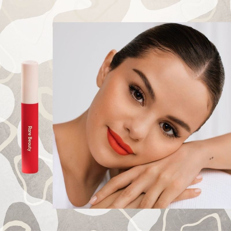 selena gomez wearing rare beauty lip souffle