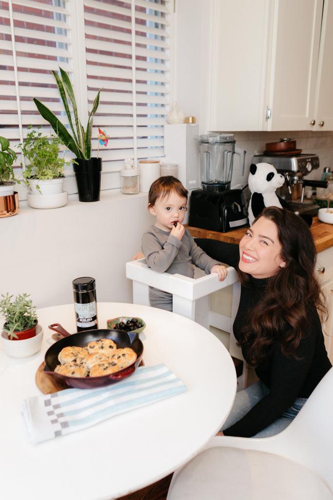 Homemade Skillet Biscuits Recipe with Dark Hojiblanca Olives