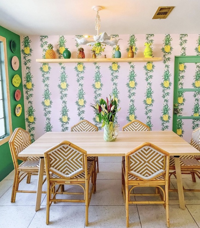patterned pineapple wall as spring home decor