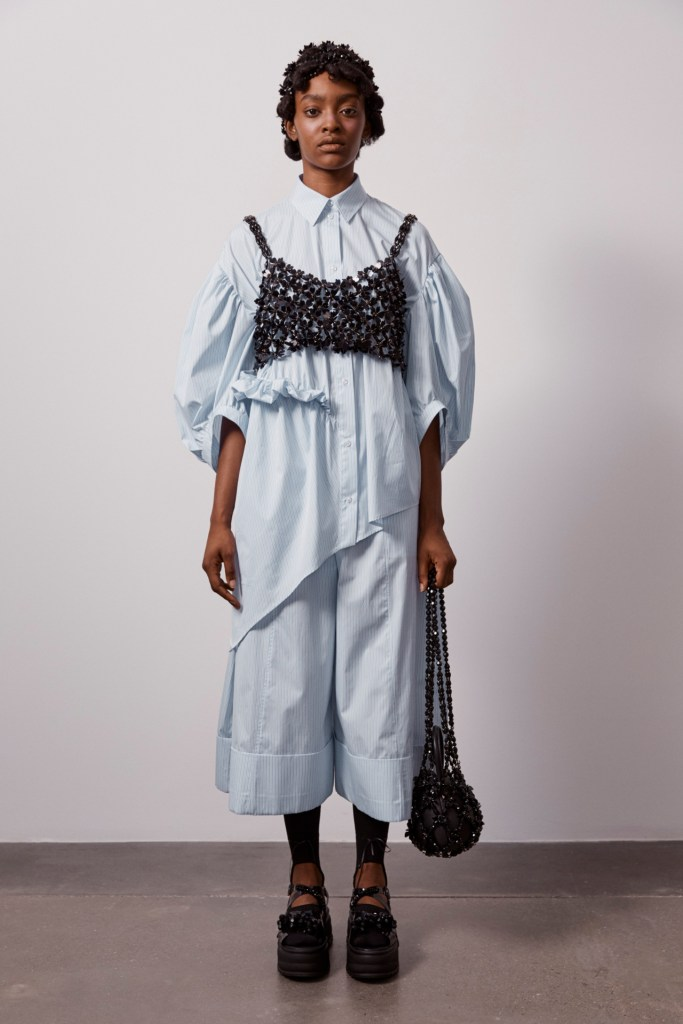 Simone Rocha bra on top of dress shirt trend