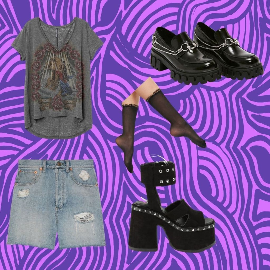 casual outfit with lace socks and platform shoes