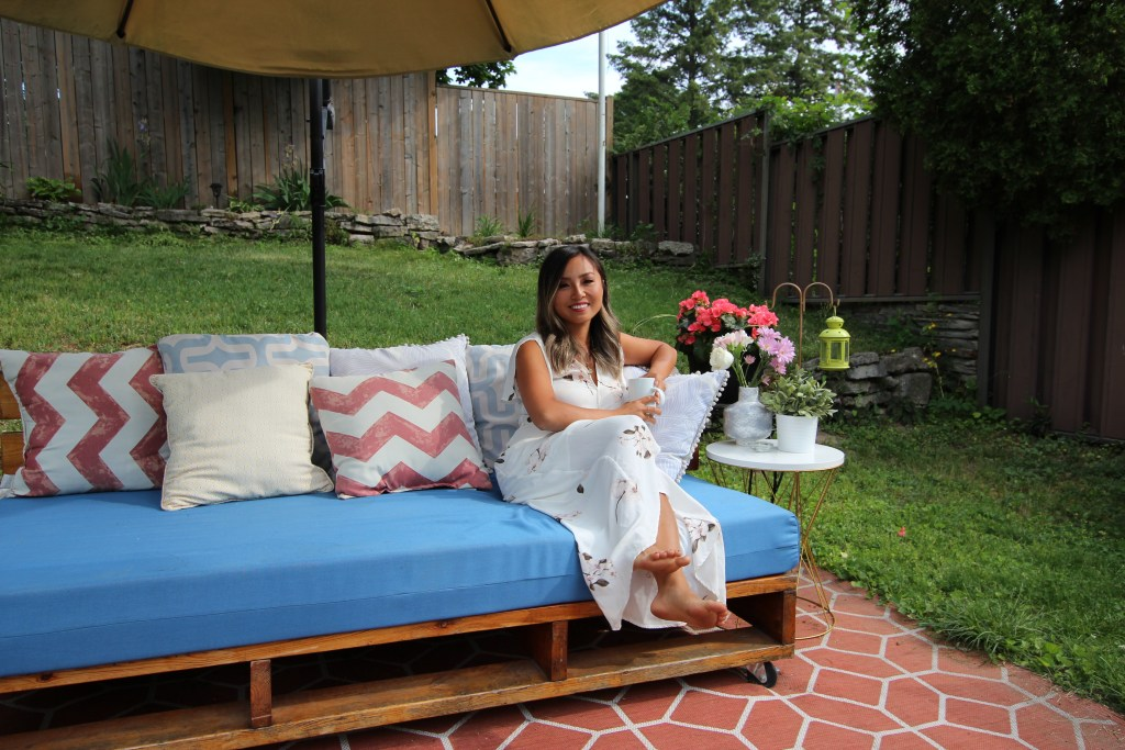 Gloria Song-Foster on her patio
