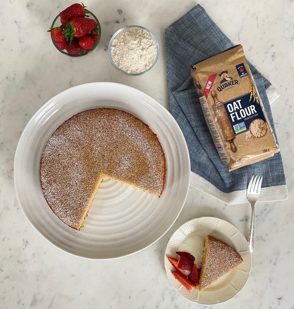 Anna Olson's lemon oat flour cake top view