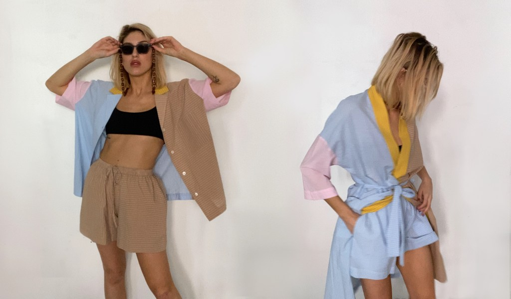 Soft Focus model wearing stripe lounge summer set