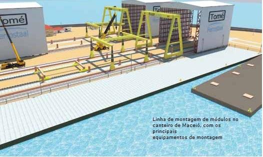 Imagem do projeto do estaleiro publicada na revista da Tomé Engenharia