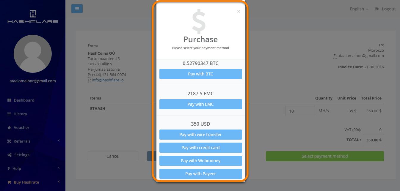 Hashflare Payment