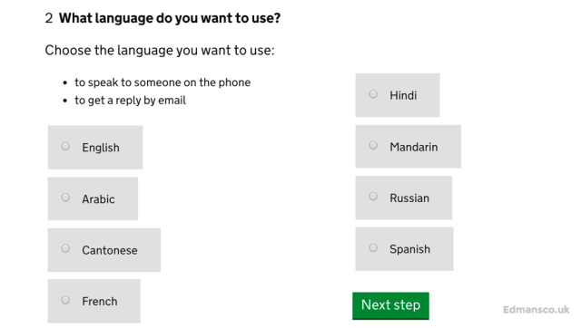 Languages for UKVI Customer Service Enquiries