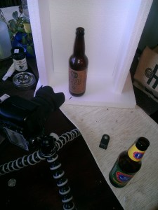 "My beer bottle-shooting DIY ""studio"""