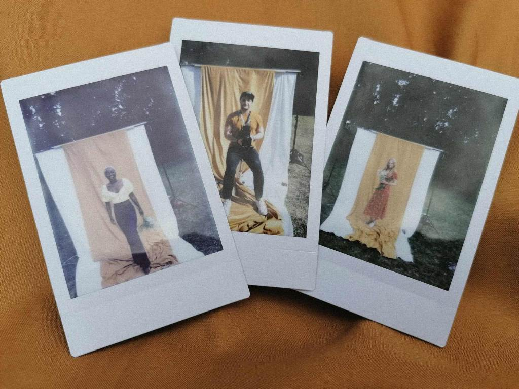 Polaroid photo in outdoor locations