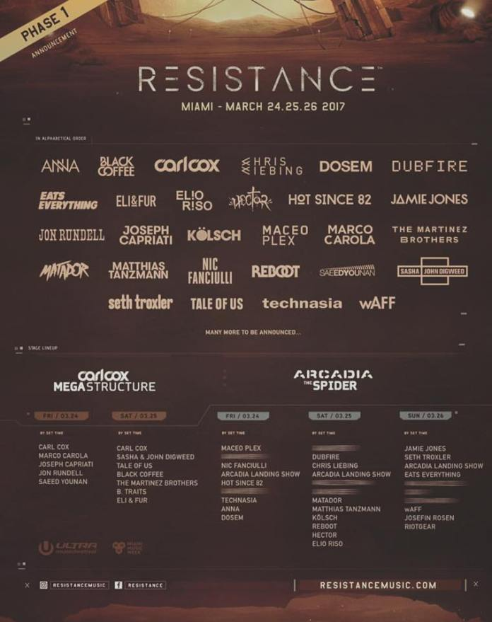 Ultra Music Festival 2017 Resistance Phase One Lineup