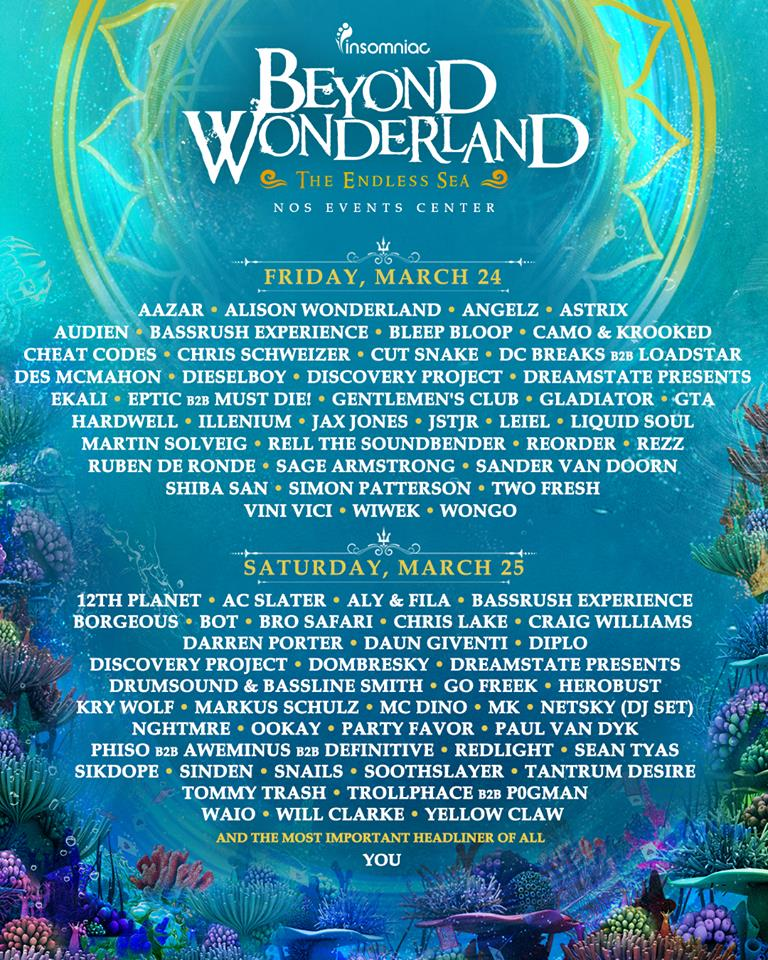 Beyond Wonderland SoCal 2017 Daily Lineup