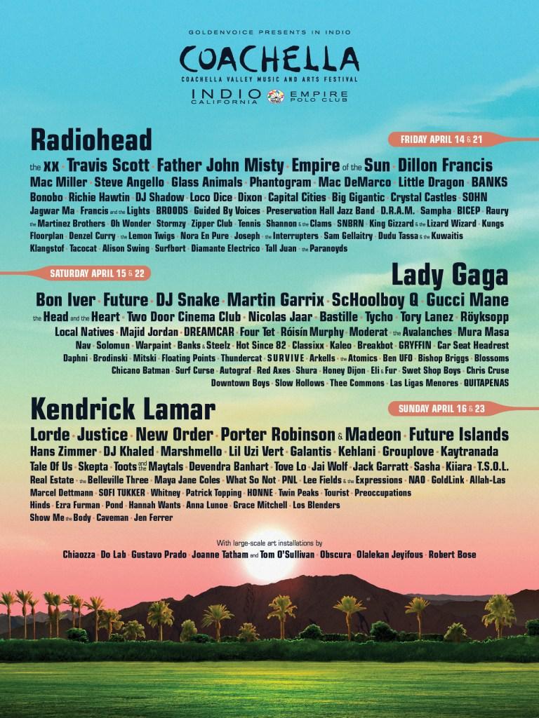 Coachella 2017 Lineup Lady Gaga and more