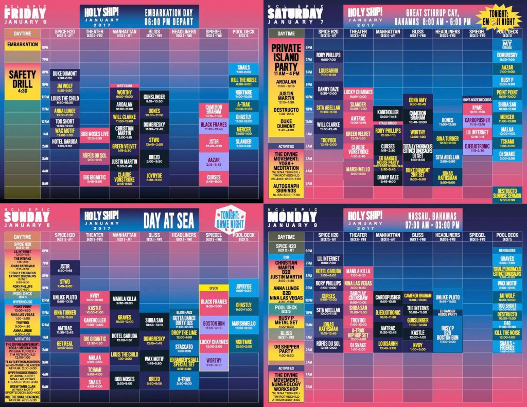 Holy Ship! 2017 8.0 Schedule