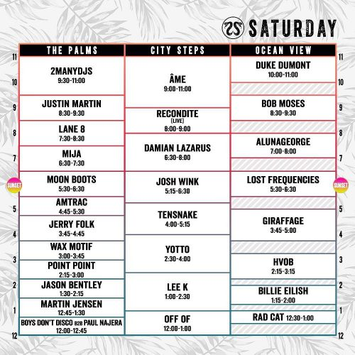 CRSSD Festival Spring 2017 Set Times Saturday