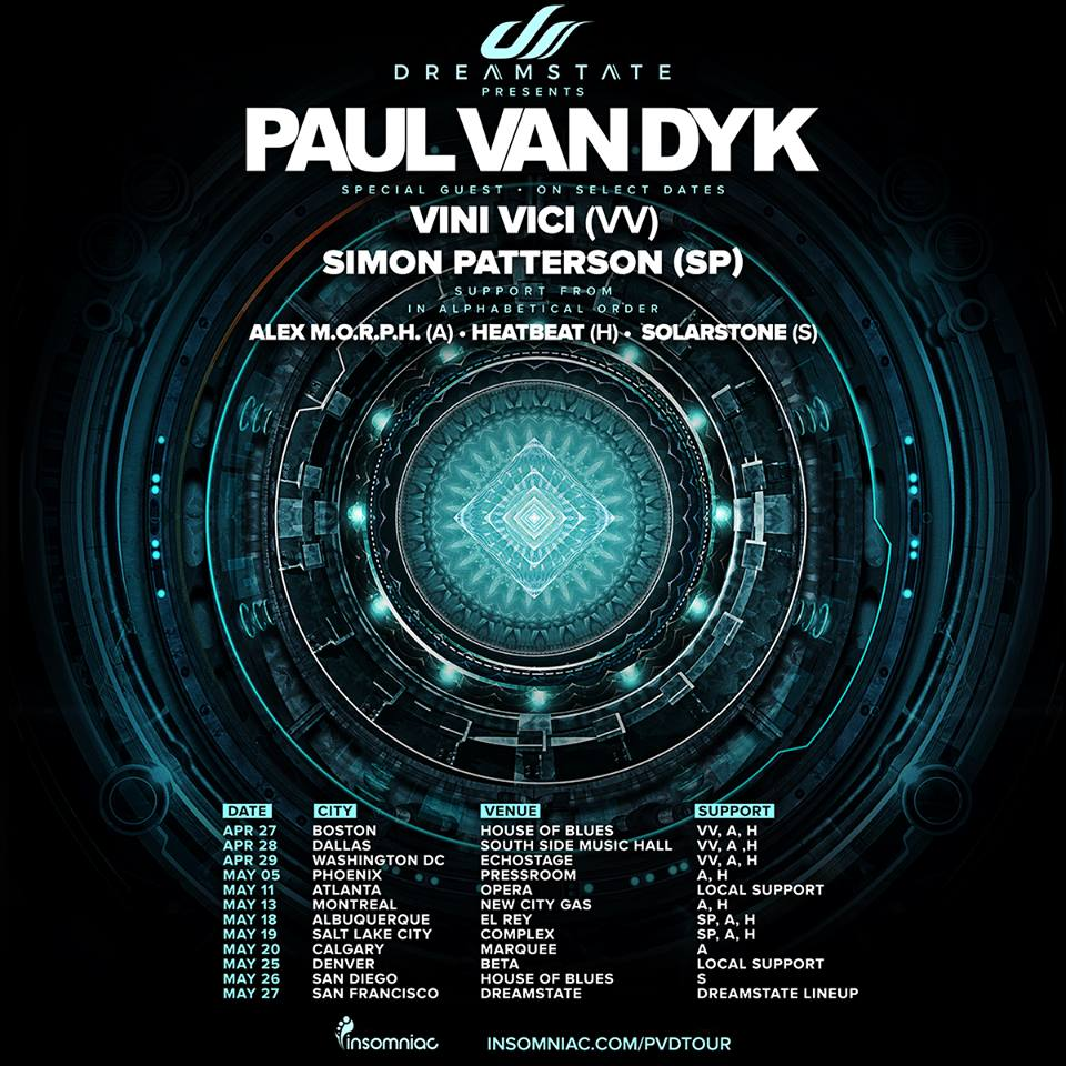 Dreamstate Presents Paul Van Dyk Tour 2017 square
