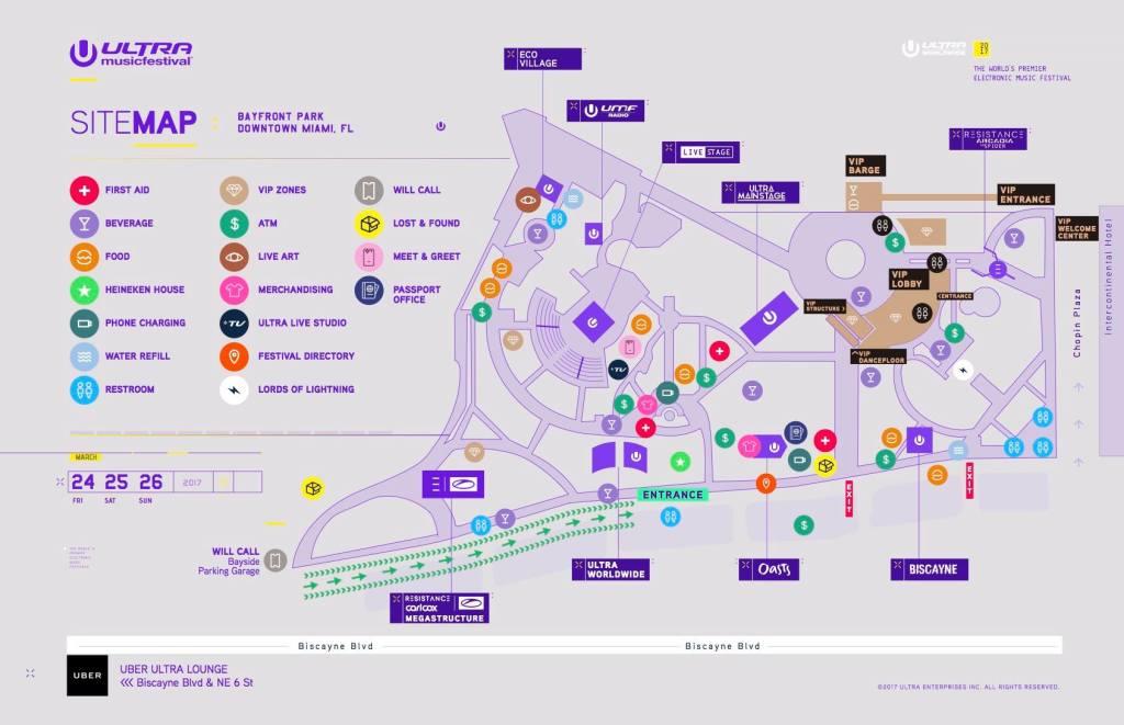 Ultra Music Festival 2017 Map