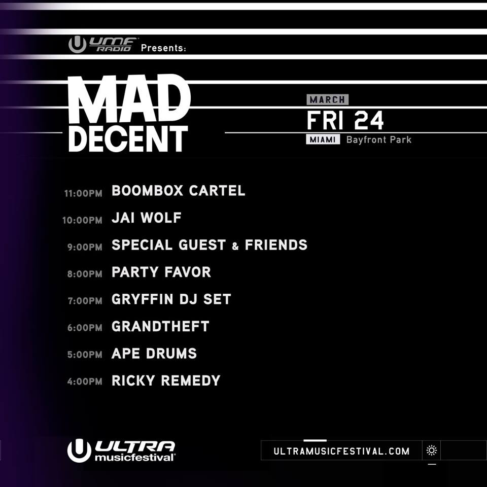 Ultra Music Festival 2017 Set Times - Mad Decent