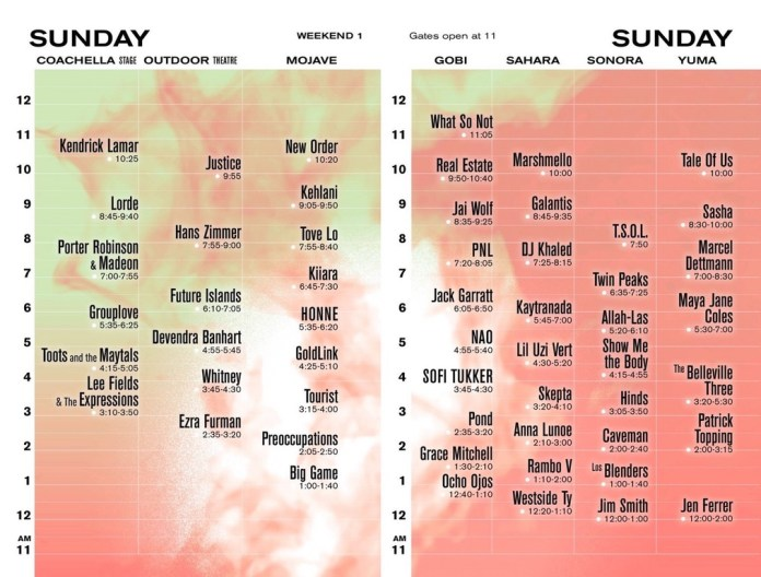 Coachella 2017 Set Times - Sunday