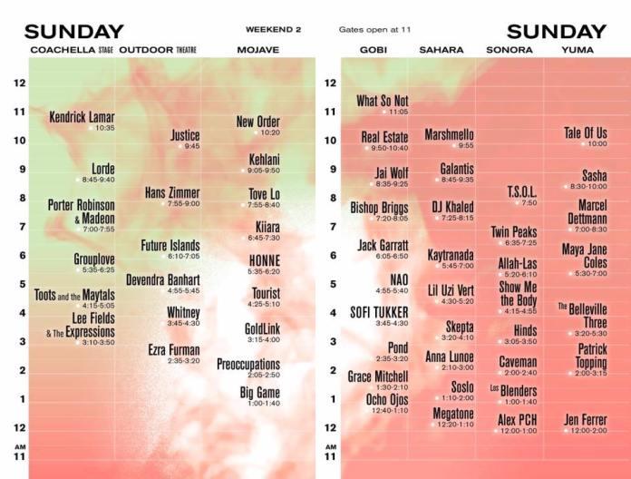 Coachella 2017 Wknd 2 Set Times - Sunday